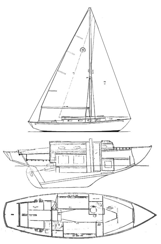 Sou'wester Jr. (Hinckley)drawing on sailboatdata.com