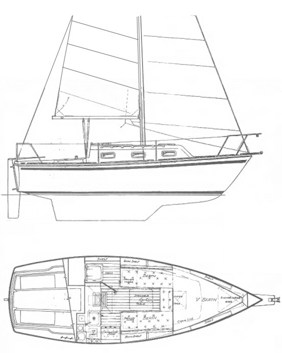 Sovereign 24 drawing on sailboatdata.com