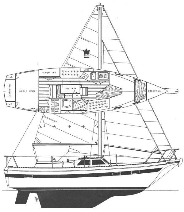 Sovereign 28 drawing on sailboatdata.com