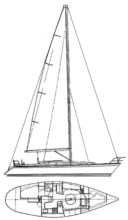 Sovereign 400 drawing on sailboatdata.com