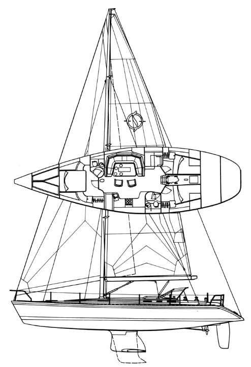 Sovereign 54 drawing on sailboatdata.com