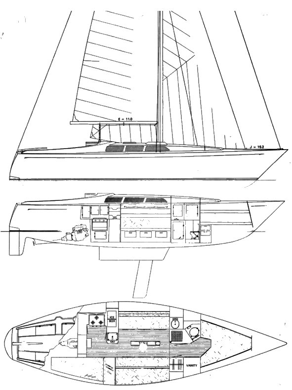 Soverel 36 CB drawing on sailboatdata.com