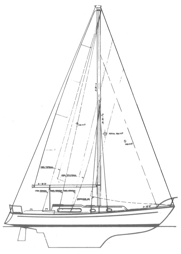 Soverel 41 drawing on sailboatdata.com
