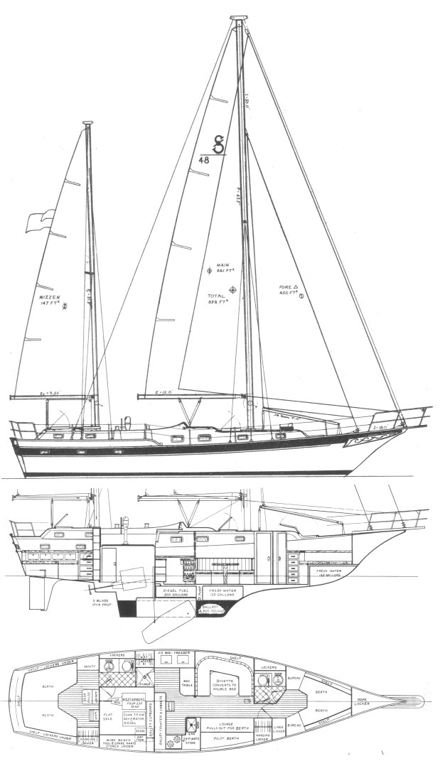 Soverel 48 drawing on sailboatdata.com