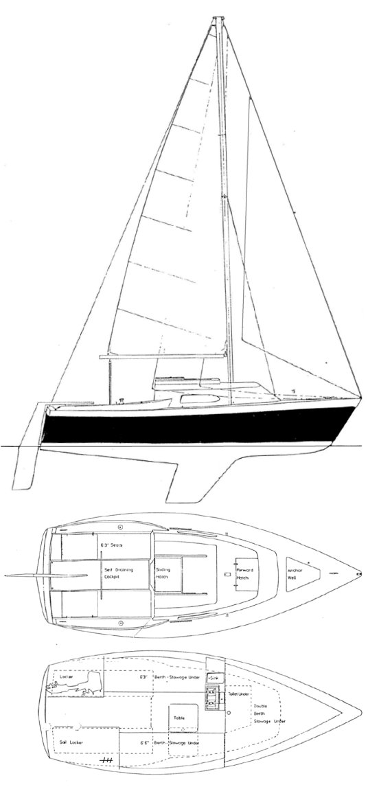 Spacesailer 20 drawing on sailboatdata.com