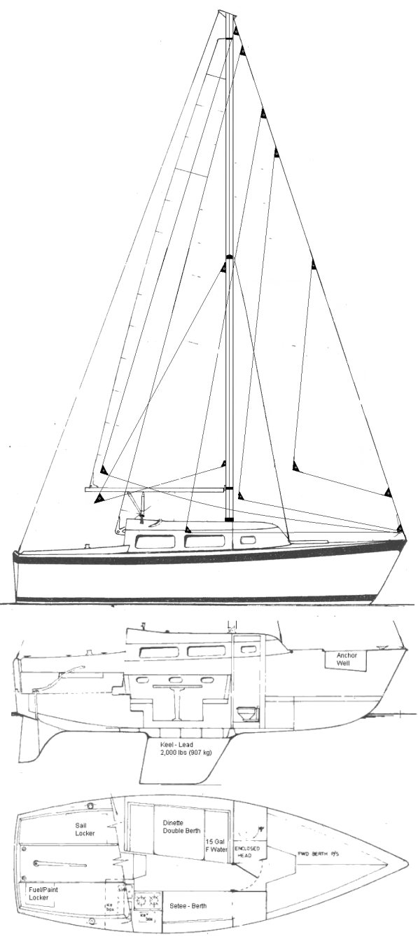 Spacesailer 24 drawing on sailboatdata.com