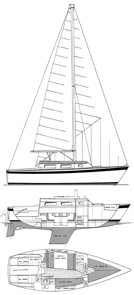 Spacesailer 27 drawing on sailboatdata.com