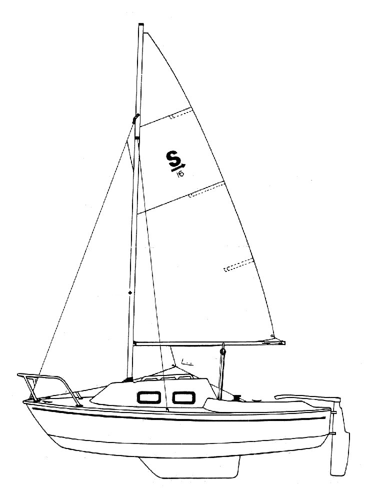 Sparrow 16 drawing on sailboatdata.com