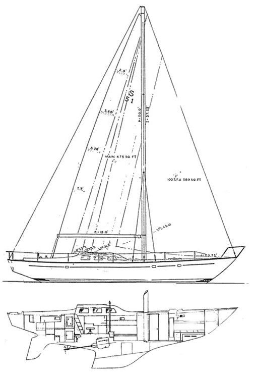 Spencer 53 drawing on sailboatdata.com