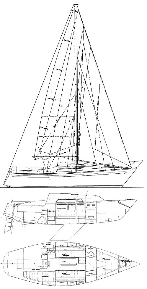 Spirit 28 (van de Stadt) drawing on sailboatdata.com