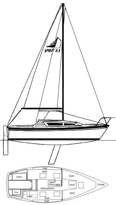 Spirit 6.5 drrawing on sailboatdata.com