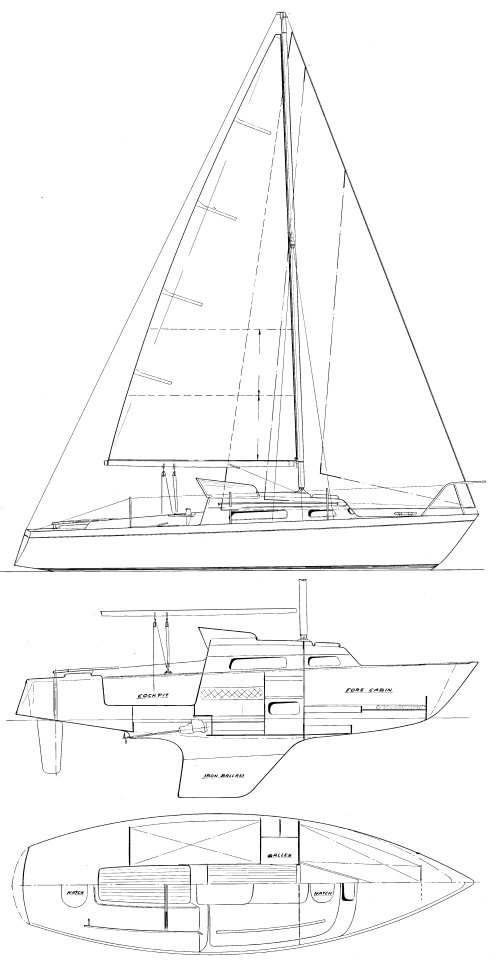 Spurn 23 drawing on sailboatdata.com