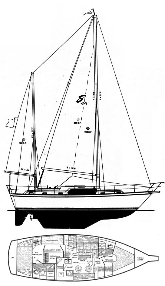 Stamas 44 drawing on sailboatdata.com