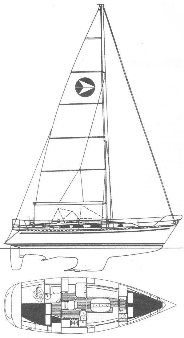 Starlight 35 drawing on sailboatdata.com