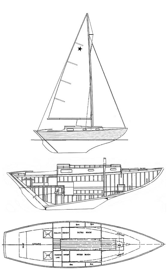 Stella 26 drawing on sailboatdata.com