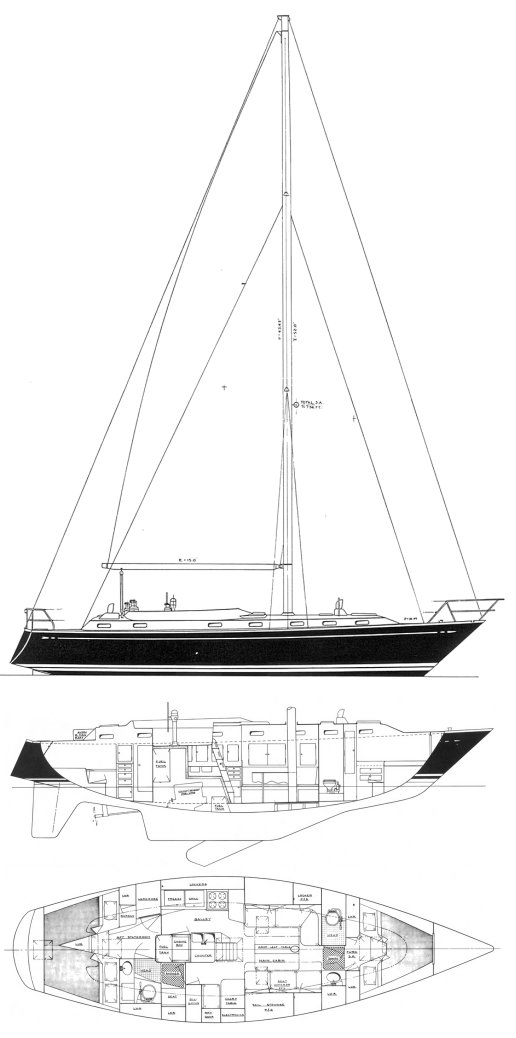 Stevens 40 drawing on sailboatdata.com