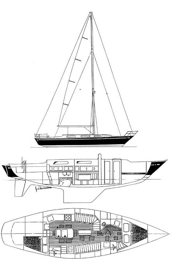 Stevens 42 drawing on sailboatdata.com