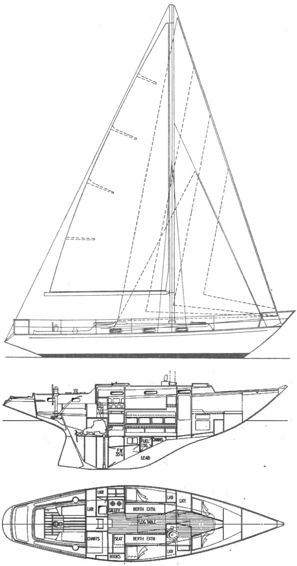 Strider 35 drawing on sailboatdata.com