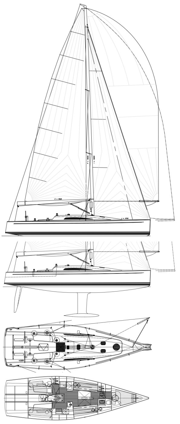 Summit 40 drawing on sailboatdata.com