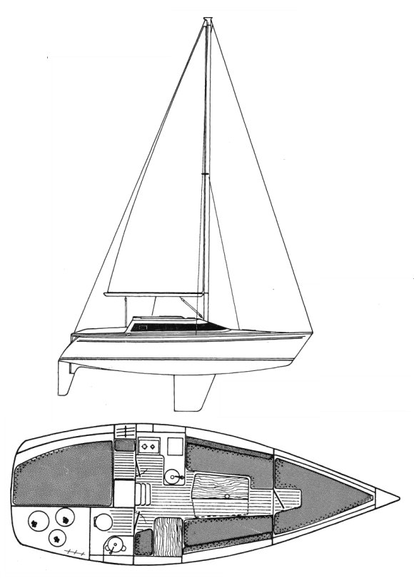 Sun Dream 28 (Jeanneau) drawing on sailboatdata.com