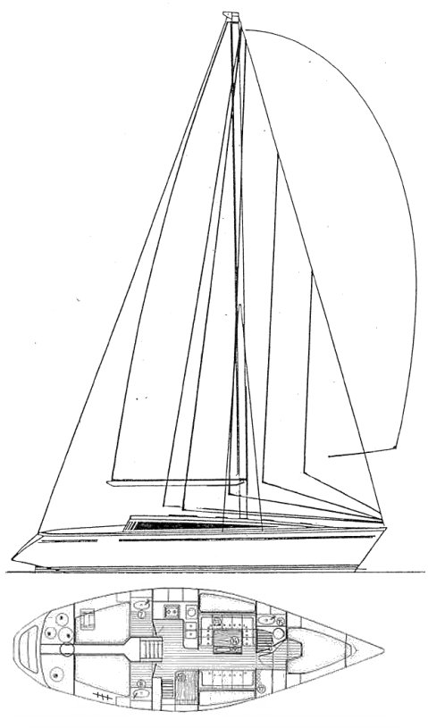 Sun Fast 41 (Jeanneau) drawing on sailboatdata.com