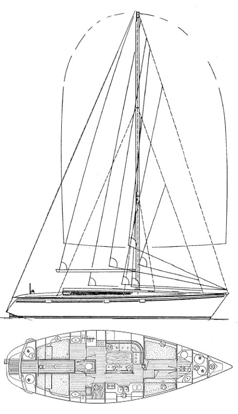 Sun Kiss 47 (Jeanneau) drawing on sailboatdata.com
