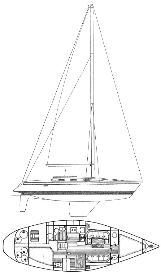 Sun Legende 41 (Jeanneau) drawing on sailboatdata.com