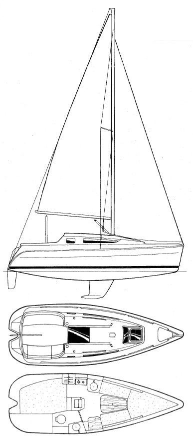 Sun Odyssey 24.2 drawing on sailboatdata.com