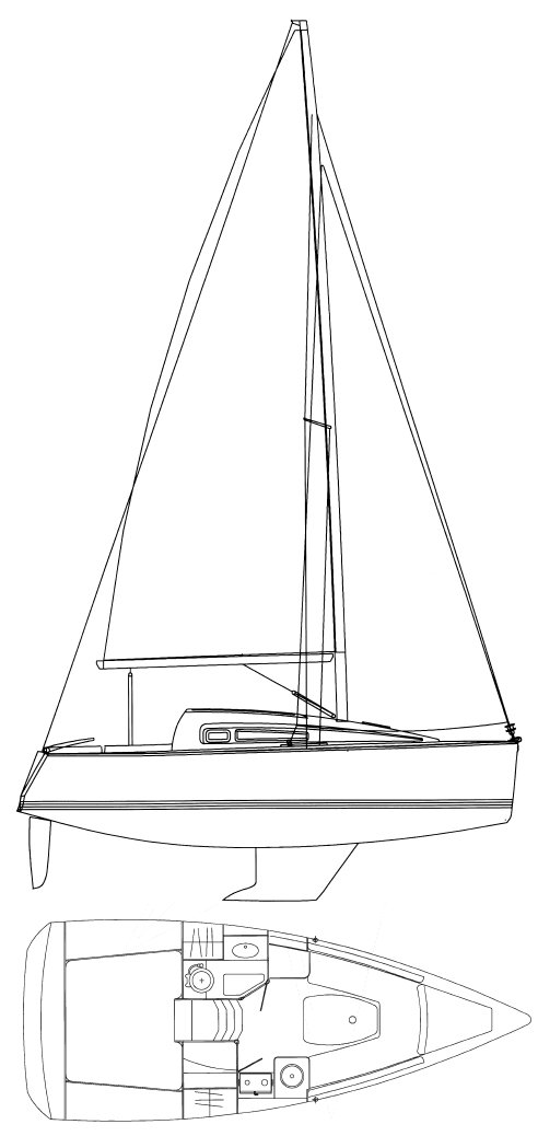Sun Odyssey 26 drawing on sailboatdata.com