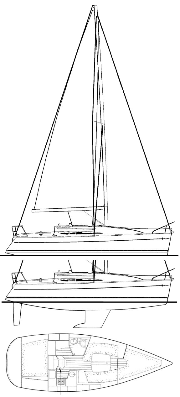 Sun Odyssey 32-1 drawing on sailboatdata.com
