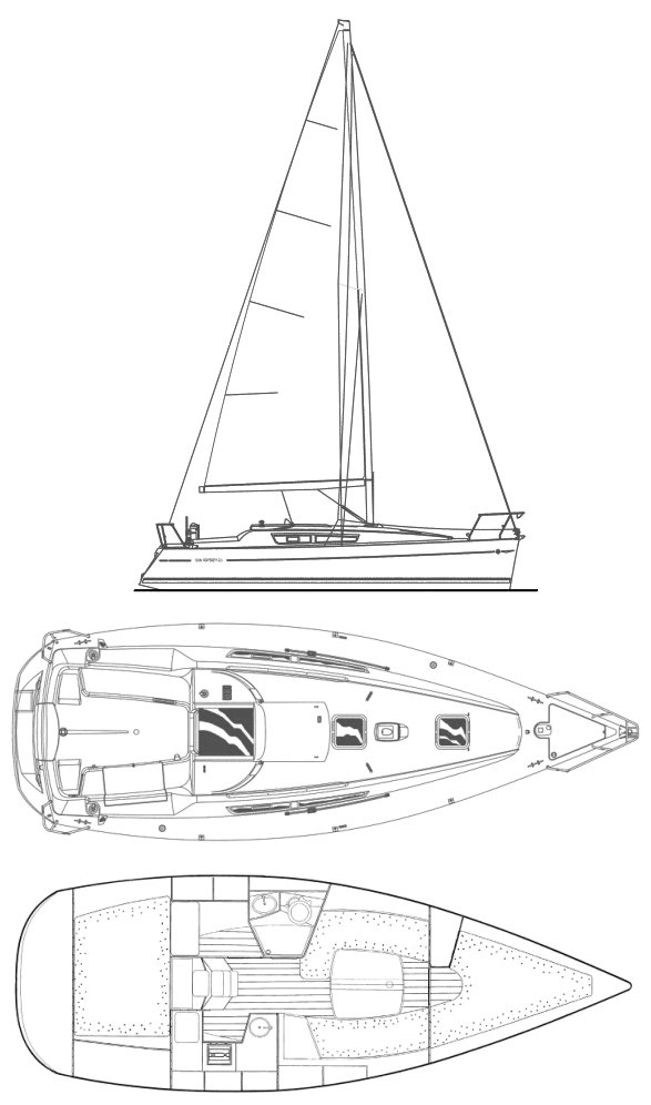 Sun Odyssey 32i drawing on sailboatdata.com