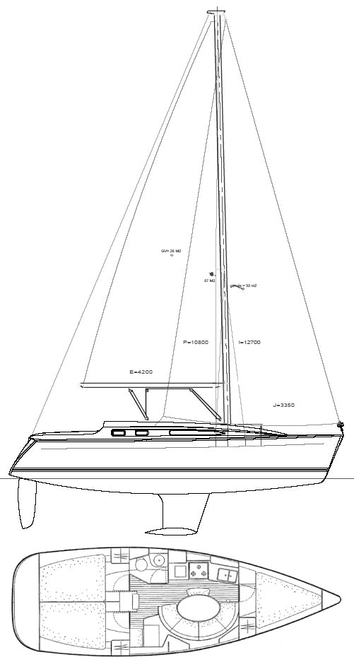 Sun Odyssey 34.2 drawing on sailboatdata.com