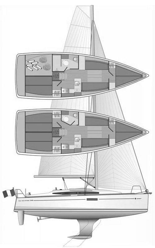SUN ODYSSEY 349 (JEANNEAU) drawing