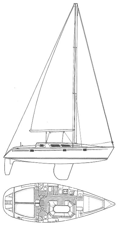 Sun Odyssey 36 drawing on sailboatdata.com