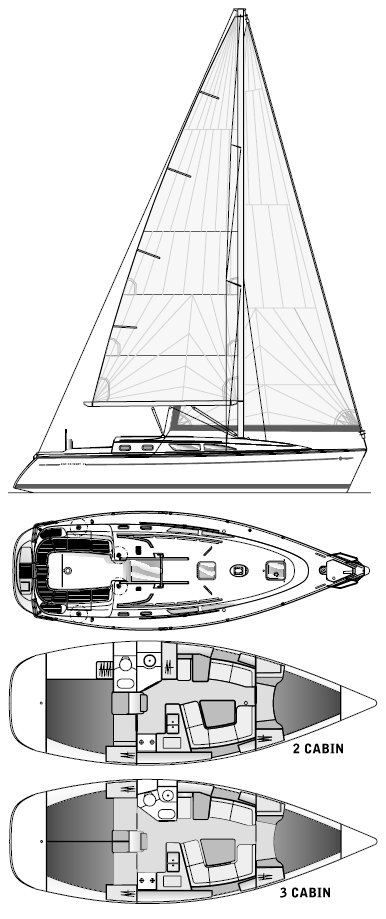Sun Odyssey 37 drawing on sailboatdata.com
