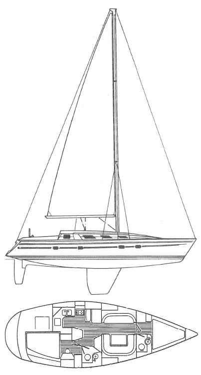 Sun Odyssey 39 drawing on sailboatdata.com