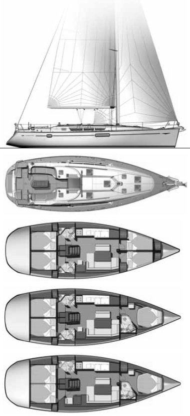 Sun Odyssey 44I (Jeanneau) drawing on sailboatdata.com