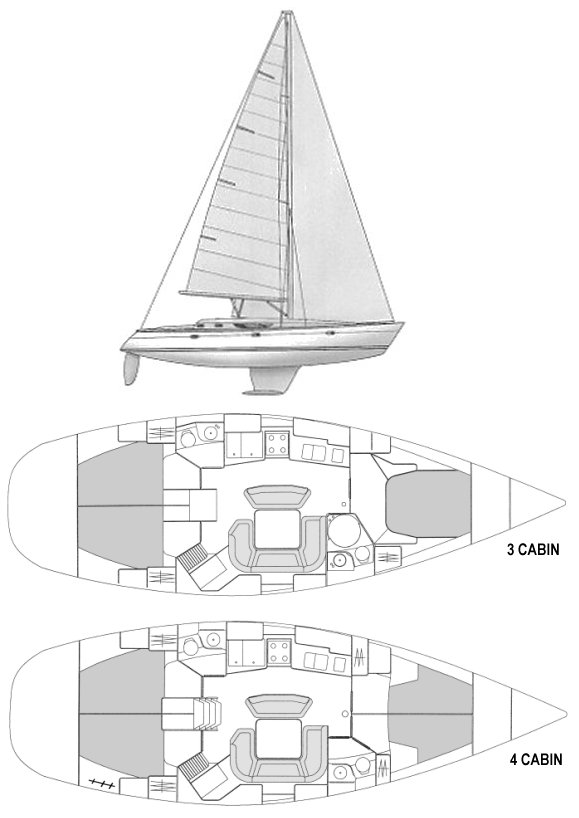 Sun Odyssey 45.2 drawing on sailboatdata.com