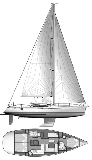 Sun Odyssey 45DS drawing on sailboatdata.com