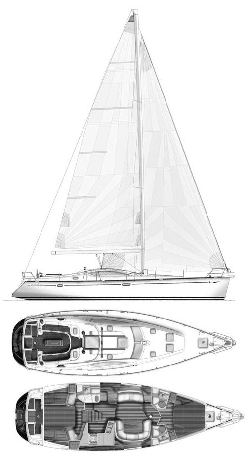 Sun Odyssey 49DS drawing on sailboatdata.com