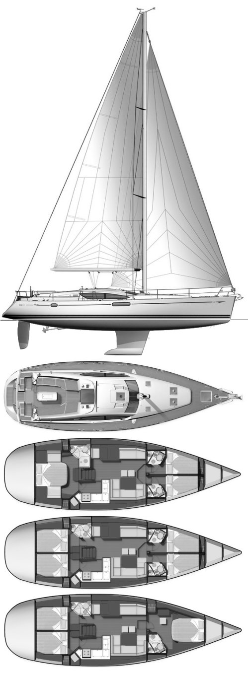 Sun Odyssey 50DS (Jeanneau) drawing on sailboatdata.com