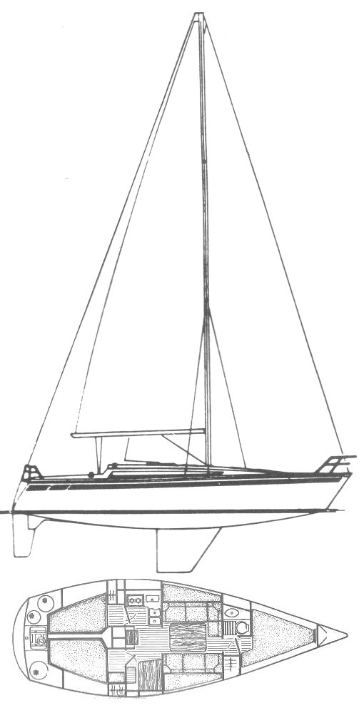 Sun Shine 36 (Jeanneau) drawing on sailboatdata.com