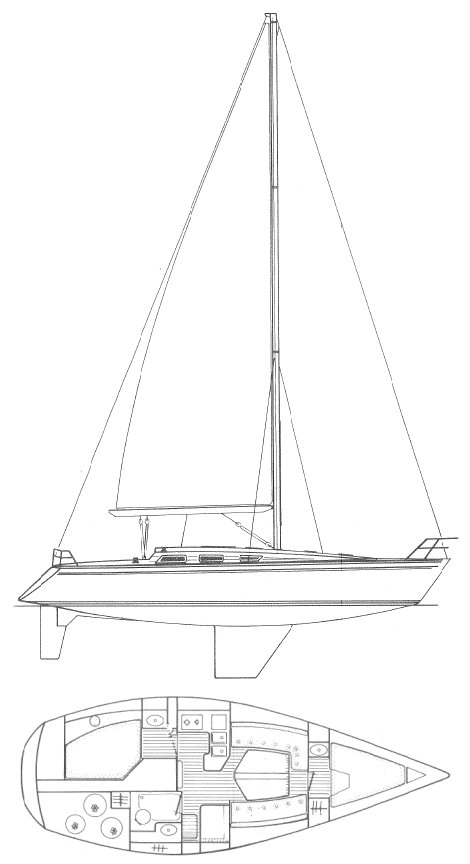 Sun Shine 38 (Jeanneau) drawing on sailboatdata.com