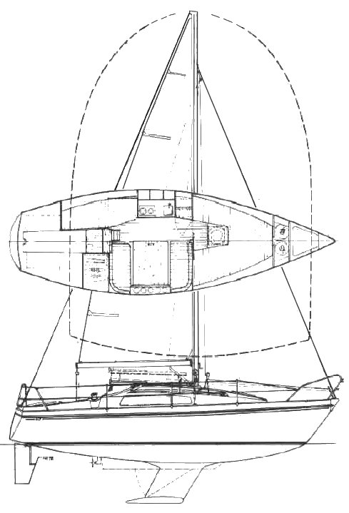 Sunbeam 25 drawing on sailboatdata.com