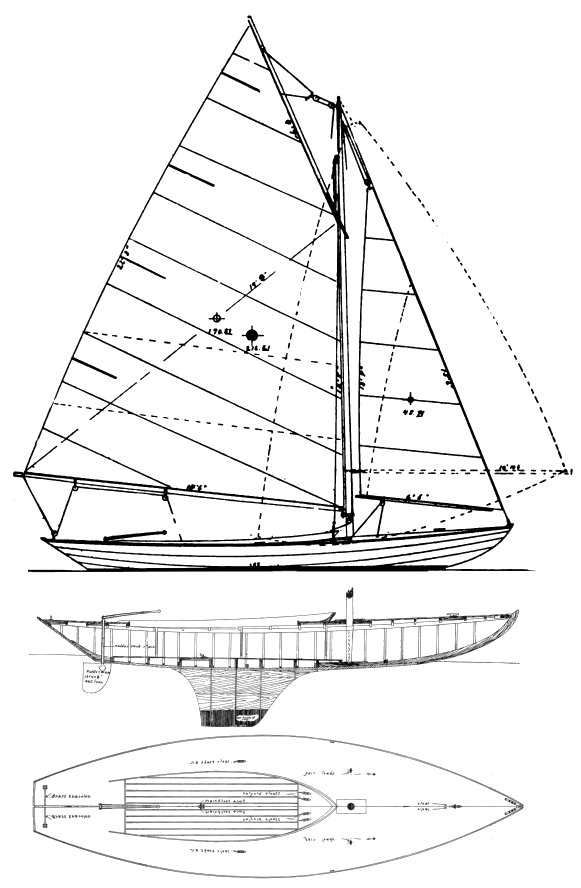 SWAMPSCOTT ONE-DESIGN DORY drawing