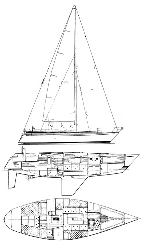 Swan 371 drawing on sailboatdata.com