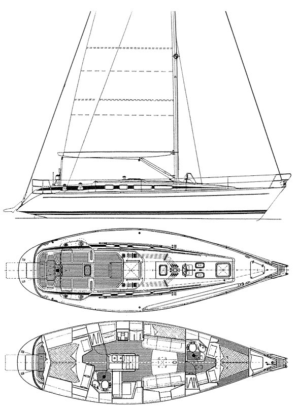 Swan 40 (Frers) drawing on sailboatdata.com