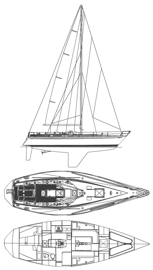 Swan 42 drawing on sailboatdata.com
