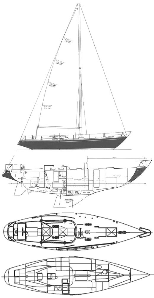 Swan 43 (S&S) drawing on sailboatdata.com