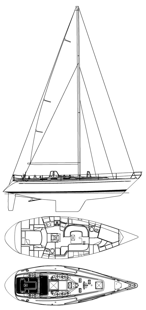 Swan 43 (Holland) drawing on sailboatdata.com